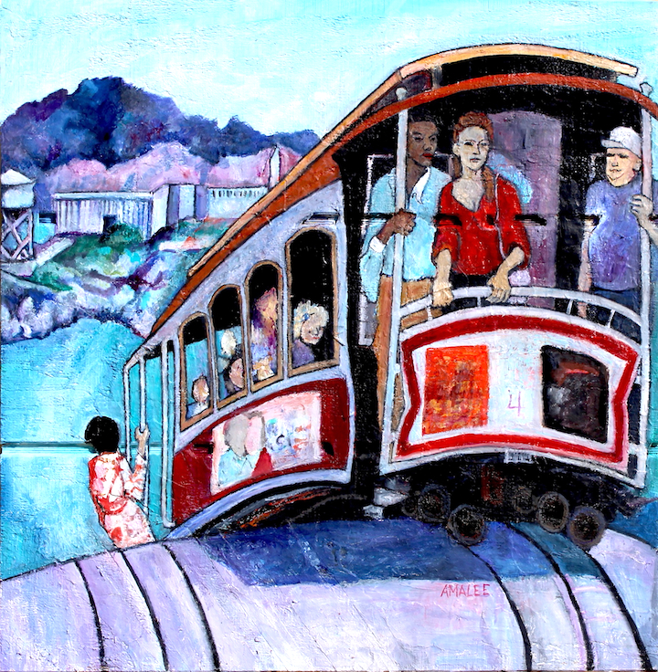 """""""San Francisco Cable Car"""" An Amalee Original Oil Painting"""