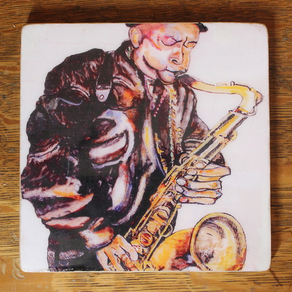 """Saxophone Man"" Art Tiles"